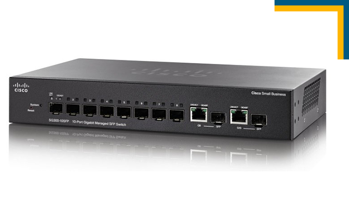 Switch quang Cisco SG300-10SFP 10-port SFP Gigabit, switch quang 10 cổng 10/100/1000M